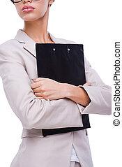 地位, 保有物, women., 女性実業家, イメージ, 若い, 切り取った, 確信した, 間, クリップボード, に対して, 背景, 白, bossy