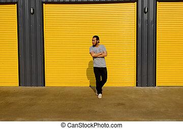 地位, 倉庫, ドア, 人