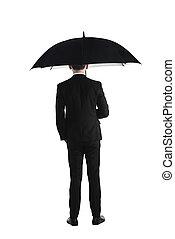地位, 傘, ビジネス, 背中, 保有物, 人, 光景