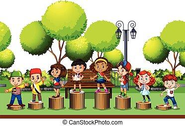 地位, 公園, 丸太, 子供