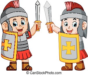 地位, 兵士, ローマ人, の上, 剣