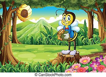 地位, 切り株, 保有物, ポット, 蜂, の上