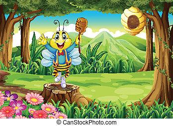 地位, 切り株, 森林, の上, 蜂