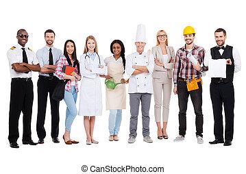 地位, 別, グループ, 人々, 職業, に対して, あなたの, お互い, 選びなさい, 背景, profession., 終わり, 微笑, 多様, 白