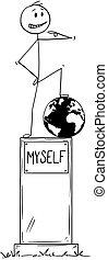 地位, 利己的, myself, テキスト, 像, 利己主義者, 台座, 漫画, 人