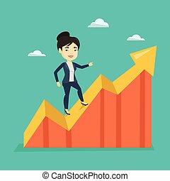 地位, 利益, 女, chart., ビジネス