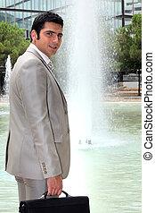 地位, 前部, 噴水, ビジネスマン