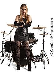 地位, 前部, 女, drumkit, 若い