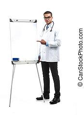 地位, 医者, ブランク, 若い, 板, アフリカ, 白, プレゼンテーション, ジェスチャーで表現する, hands., 人