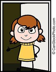 地位, 十代, ドア, 中, -, イラスト, ベクトル, 請求, 女の子, 来なさい, 漫画, レトロ