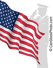 地位, 合衆国旗, solider, 前部, 挨拶