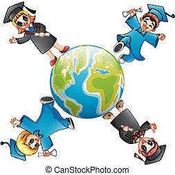地位, 地球, 子供, のまわり, 卒業生