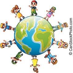 地位, 地球, 幸せ, のまわり, 子供
