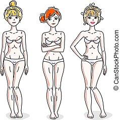 地位, 多様性, underwear., 人々, set., 若い, ベクトル, 魅力的, イラスト, 白, 女性, 幸せ