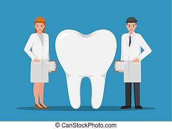 地位, 大きい, 歯, 歯科医, 女性, マレ