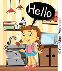 地位, 女の子, 幸せ, 台所