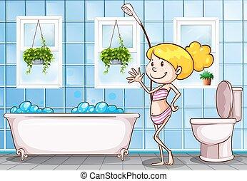 地位, 女の子, 浴室