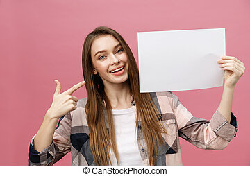 地位, 女性の指すこと, 彼女, 若い, 指, ブランク, board., 微笑