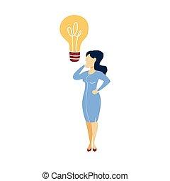 地位, 女性ビジネス, ライト, スーツ, 電球