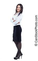 地位, 女性ビジネス, 隔離された, 長さ, フルである, 背景, 白