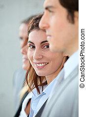 地位, 女性実業家, 微笑, グループ, ∥間で∥