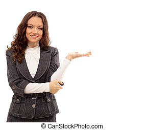 地位, 女, かなり, ビジネス, 隔離された, 若い, 背景, 肖像画, 白