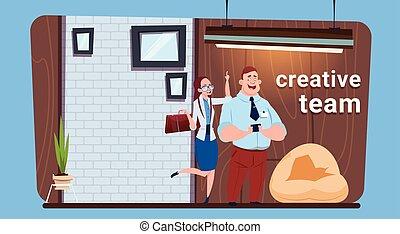 地位, 女, オフィス, ビジネス, スペース, 現代, businesspeople, 創造的, coworking, チーム, 人
