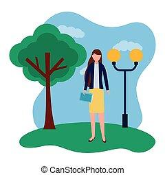 地位, 女, 公園, ビジネス