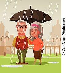 地位, 女, 古い, ロマンチック, 妻, 恋人, 2, 雨, 人, 概念, ベクトル, イラスト, 保有物, 下に, 日付, umbrella., 漫画, 夫, 人