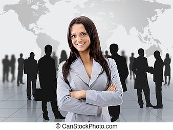 地位, 女, 彼女, ビジネス, 若い, チーム, 前部, 幸せ