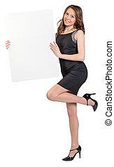 地位, 女, 足, 大きい, 1(人・つ), 広告板, 保有物, 空