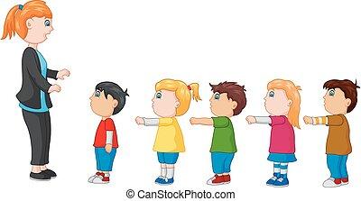 地位, 子供, 上へ武装する, 前部, 線, 教師