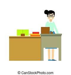 地位, 学校, 学者, シリーズ, minimalistic, 生活, 教師, の後ろ, 部分, 机, イラスト, 微笑, ガラス