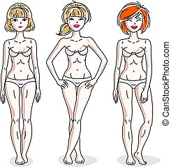 地位, 完全, ベクトル, 多様性, underwear., 人々, set., ほっそりしている, 若い, body., 魅力的, 女性, イラスト, 白, 女性, 幸せ