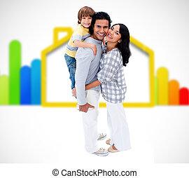 地位, 家族, 効率的である, エネルギー, イラスト, 幸せ