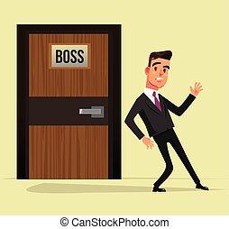 地位, 平ら, グラフィック, ドア, オフィス, はっきりしない, 考え, 労働者, ∥あるいは∥, 特徴, 隔離された, イラスト, 上司, マネージャー, ベクトル, デザイン, 下に, not., 来なさい, 漫画, 人
