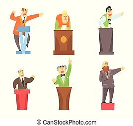 地位, 平ら, セット, 講義をする, 寄付, 男性, 漫画, の後ろ, ベクトル, スピーチ, 成人, 特徴, tribunes., マレ, 公衆