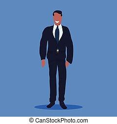 地位, 平ら, フルである, オフィス, ビジネス, 幸せ, 労働者, スーツ, ポーズを取りなさい, 特徴, 青, lengt, アメリカ人, 背景, アフリカ, ビジネスマン, マレ, 漫画, 人