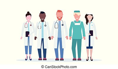 地位, 平ら, フルである, グループ, 横, 労働者, 医者, 医院, 一緒に, ユニフォーム, 混合, 長さ, レース, 背景, チーム, 白, 病院, 医学