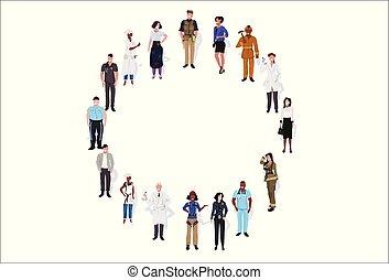 地位, 平ら, 別, フルである, グループ, 女性, 人々, 労働者, 横, 一緒に, 混合, 長さ, レース, 背景, 白い男性, 旗, 円, 職業
