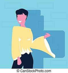 地位, 平ら, 女, 女性, ポーズを取りなさい, 特徴, 偶然, 青, ブルネット, 背景, 肖像画, 女の子, 幸せ, ファッション, 漫画, 衣服