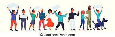 地位, 平ら, 概念, グループ, 特徴, 人々, 政治的である, 男性, 王冠, 長さ, 一緒に, プラカード, ...