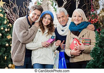 地位, 店, クリスマス, 家族, 幸せ