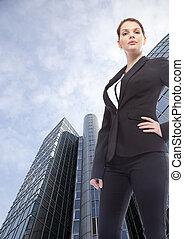 地位, 建物, オフィス, 女性実業家, 若い, 前部