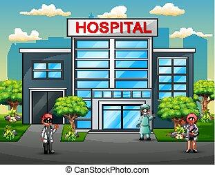 地位, 建物, グループ, 医学 チーム, ユニフォーム, 医者, 前部, 病院