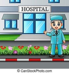 地位, 建物, 病院, 看護婦, 前部