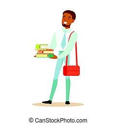 地位, 彼の, ライフスタイル, 保有物, カラフルである, バックパック, 衣服, 特徴, 若い, イラスト, ベクトル, 本, 学生, 人, 偶然, hands., 幸せ