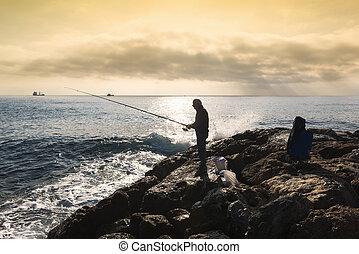 地位, 彼の, 手, 棒, 岩, 漁師, 釣り, 日没, 彼