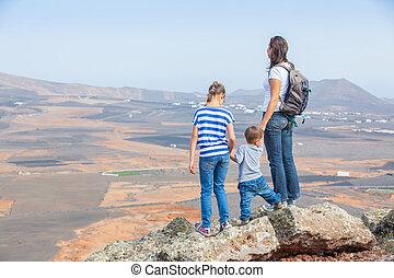 地位, 彼女, 母, cliff's, 端, 子供