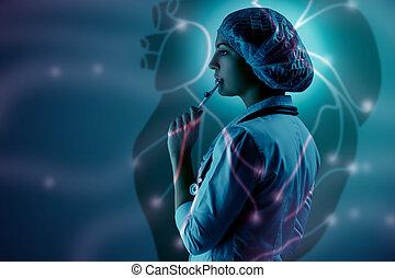 地位, 心, 科学, 医者, コラージュ, 若い, に対して, topics., 女性, 背景